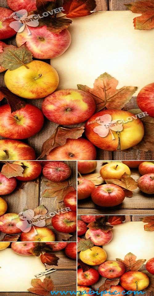 دانلود تصاویر پس زمینه پاییر با طرح سیب سرخ و چوب Autumn background with red apples