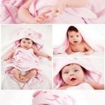 دانلود تصاویر استوک نوزاد در رختخواب صورتی Stock Photo baby in a pink bedspread