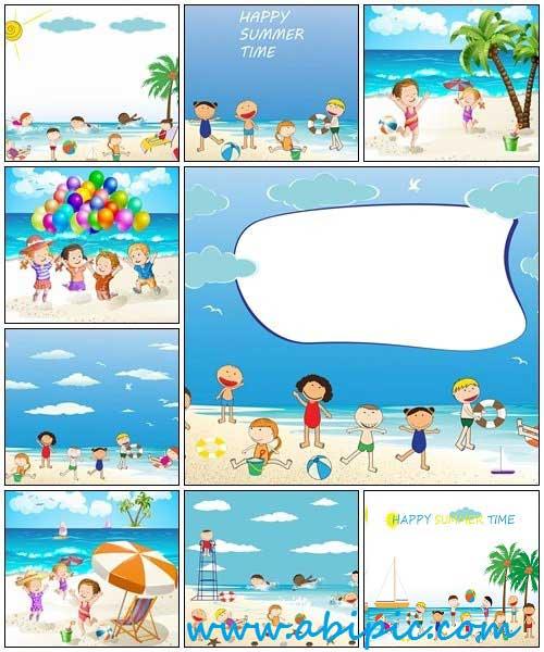دانلود وکتور بچه ها در ساحل Children at the summer beach