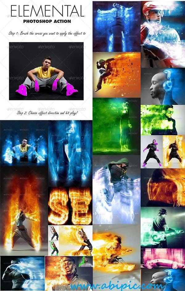 دانلود اکشن ایجاد افکت های انتزائی در عکس Elemental Photoshop Action