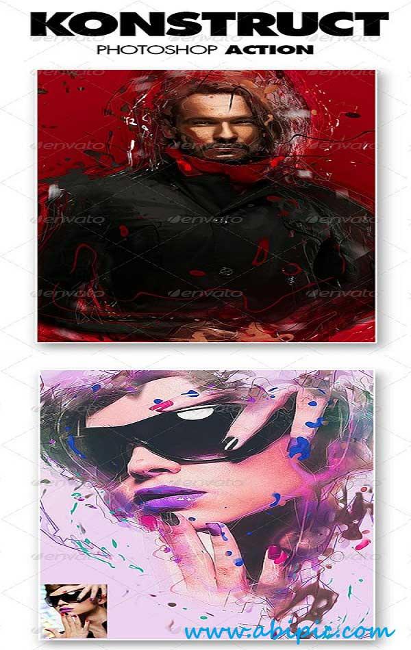 دانلود اکشن ایجاد افکت حرفه ای Konstruct روی عکس Konstruct Photoshop Action