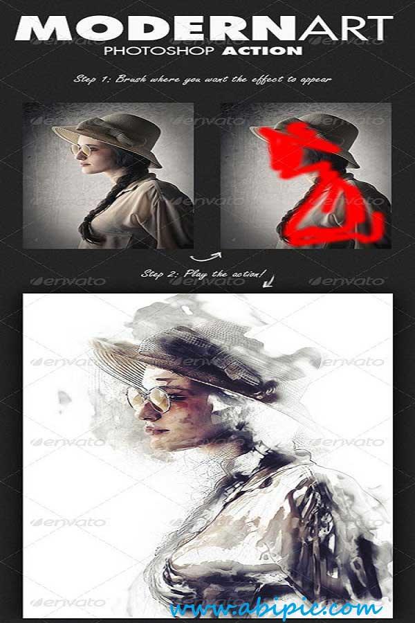 دانلود اکشن بسیار زیبای تبدیل عکس به عکس هنری  ModernArt Photoshop Action