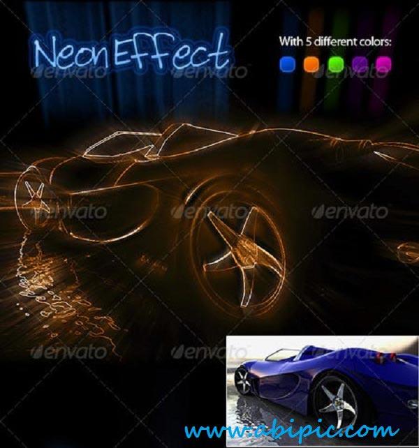 دانلود اکشن ایجاد افکت نوری نئونی در عکس Neon Effect Photoshop Action