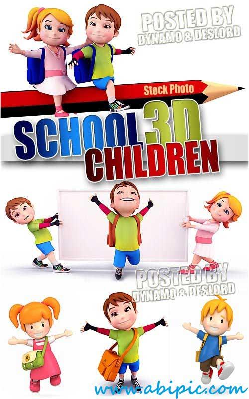 دانلود تصاویر استوک سه بعدی بازگشت به مدرسه Stock Photo School children 3D