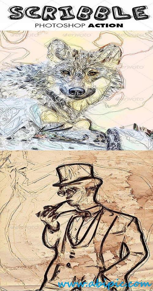 دانلود اکشن تبدیل عکس به نقاشی با خطوط در هم Scribble Photoshop Action