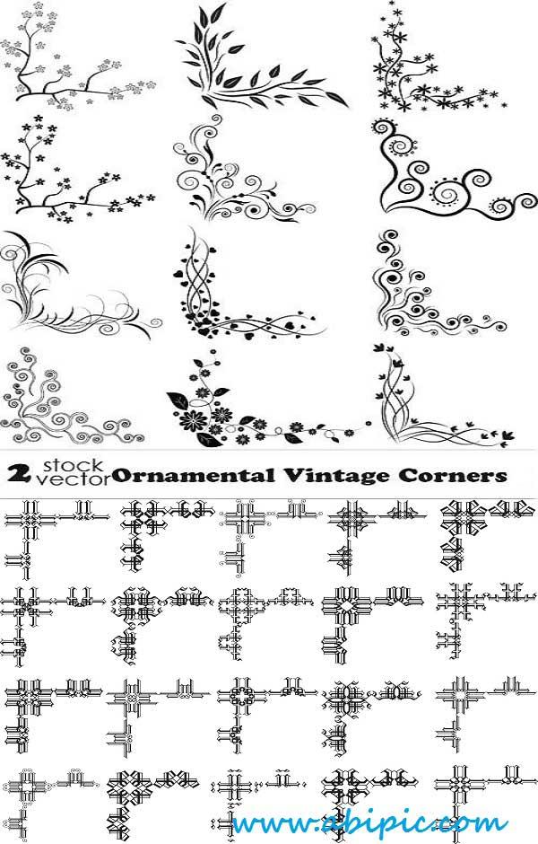 دانلود وکتور عناصر تزئینی گوشه صفحات Vectors Ornamental Vintage Corners