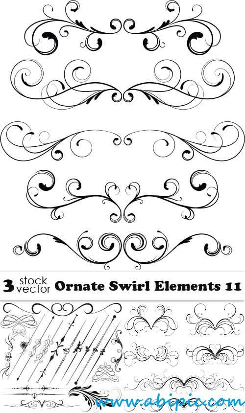 دانلود المان های تزئینی شماره 18 Vectors Ornate Swirl Elements