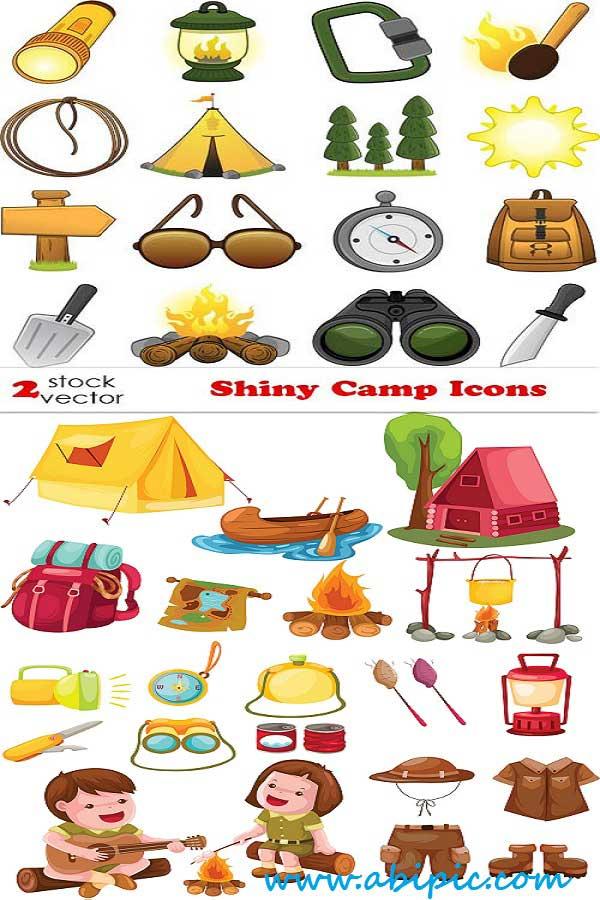 دانلود وکتور آیکون کمپ زدن Vectors Shiny Camp Icons
