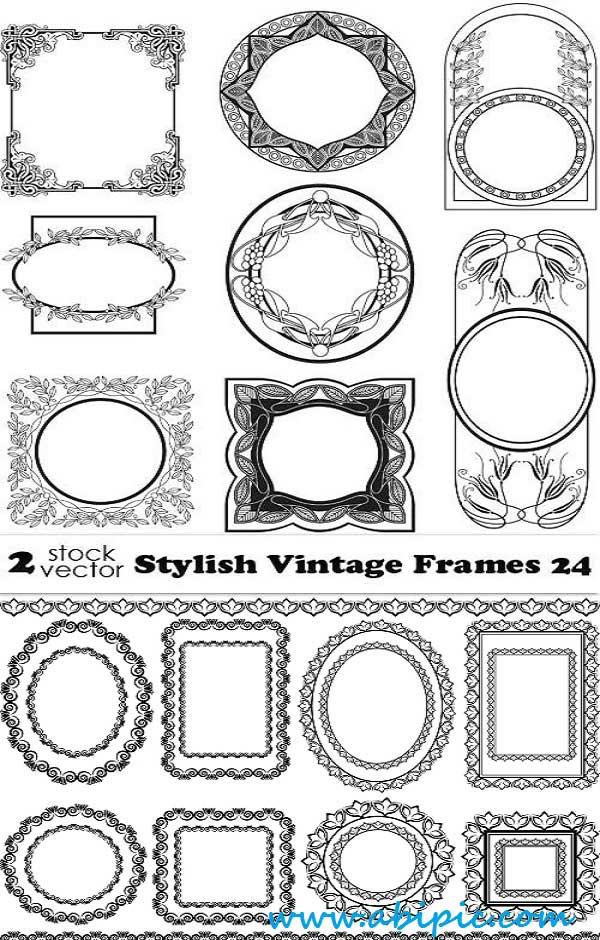 دانلود وکتور کادر و فریم گلدار شماره 6 Vectors Stylish Vintage Frames