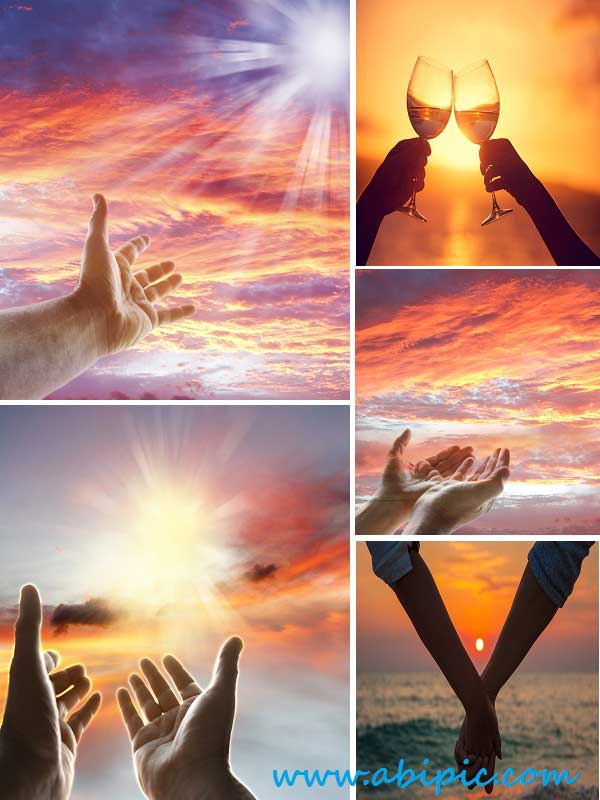 دانلود تصاویر استوک دست و غروب خورشید Stock Photo Hands and sunset