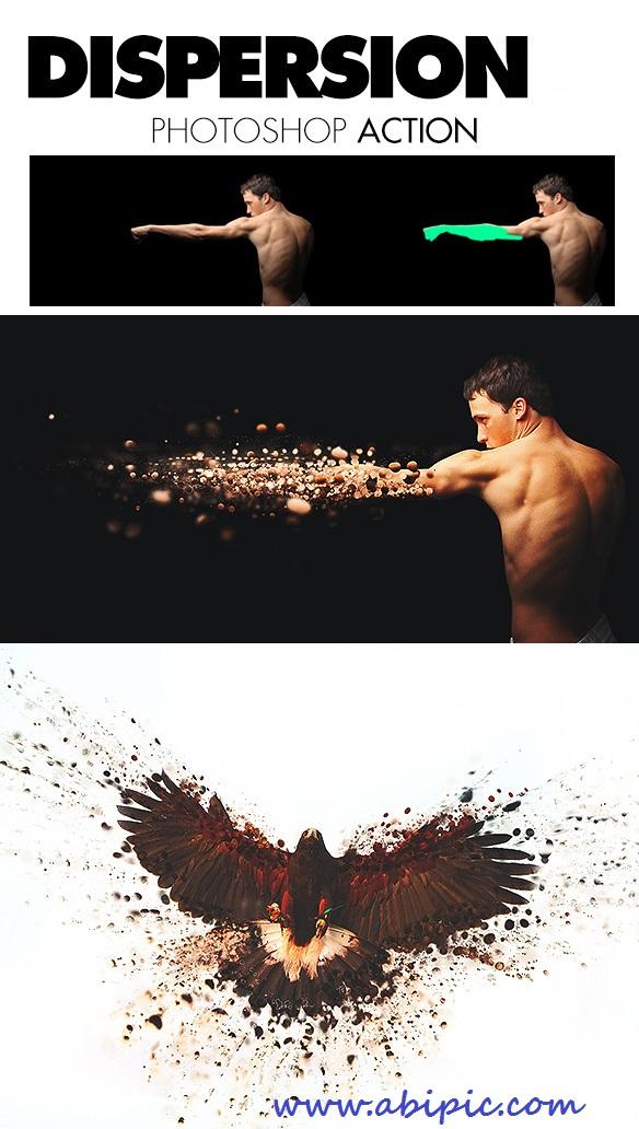 دانلود اکشن زیبا و حرفه ای پراکندگی و تجزیه برای فتوشاپ Dispersion Photoshop Action