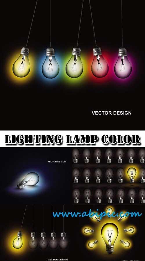 دانلود وکتور لامپ Lighting lamp color