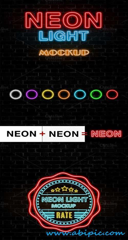 دانلود موک آپ نورهای نئونی Neon Light Mock-Up