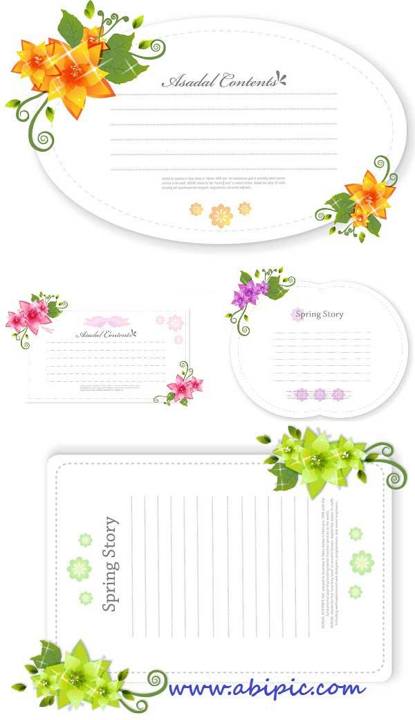 دانلود وکتور عناصر و المان های گلدار شماره 18 Floral design elements