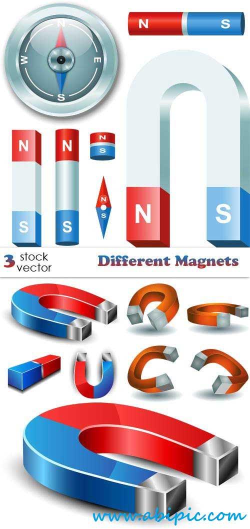 دانلود وکتور انواع مختلف آهنربا Vectors Different Magnets