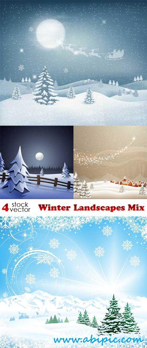 دانلود وکتور بکگراند زمستان Vectors Winter Landscapes