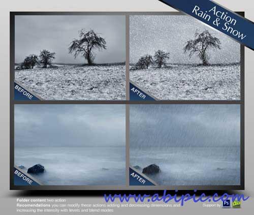 دانلود اکشن فتوشاپ شبیه سازی برف و باران Photoshop Actions Rain & Snow