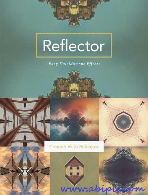 دانلود اکشن فتوشاپ انعکاس تصویر و افکت کالیدسکوپ Reflector Easy Kaleidoscope Effect