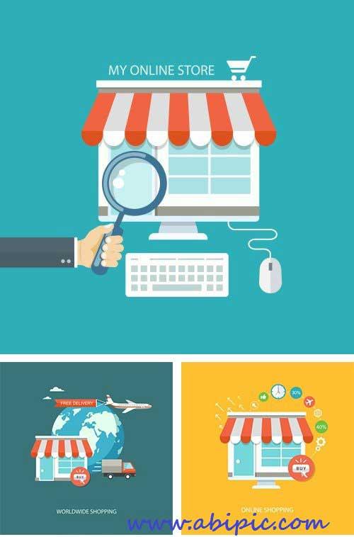 دانلود وکتور فروشگاه های  آنلاین Online market vector