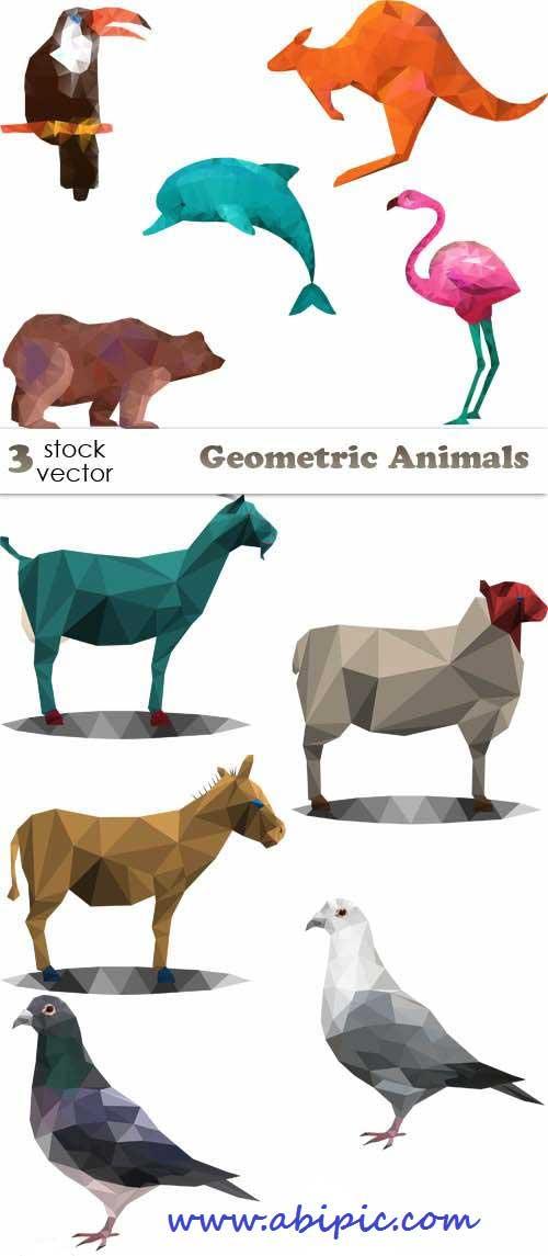 دانلود وکتور تصاویر هندسی و ژئومتریک حیوانات Vectors - Geometric Animals