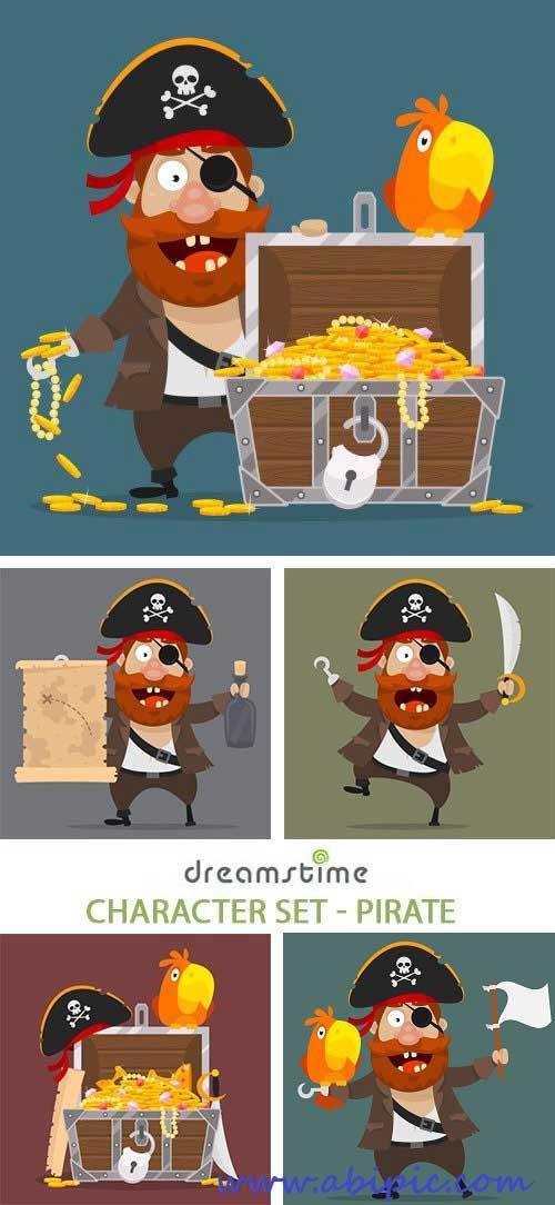 دانلود وکتور کارکتر دزد دریایی Character Set - Pirate Vector
