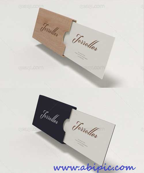دانلود کوگ آپ کارت ویزیت شماره 3 Business Card Mockup Wood And Plastic