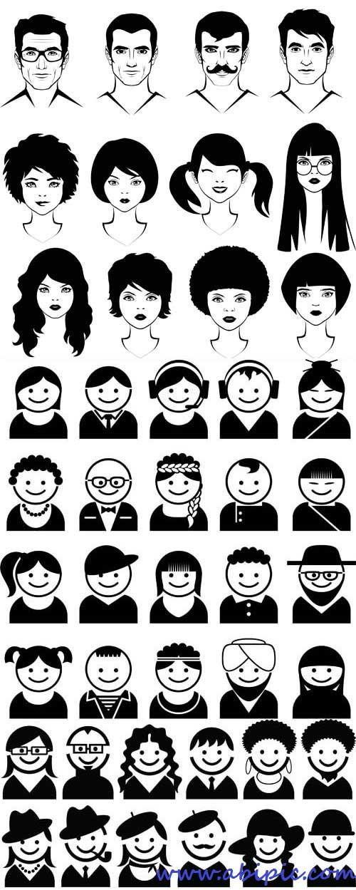 دانلود وکتور آدمک های سیاه برای آواتار Vectors - Black People Avatars