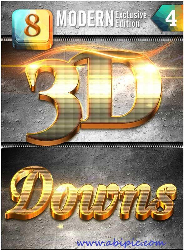 دانلود استایل ساخت متن های 3 بعدی فتوشاپ 3D Photoshop Effect