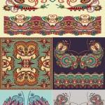 دانلود وکتور پس زمینه نقش و نگارهای سنتی شماره 2 Color Ethnic Style Backgrounds Vector