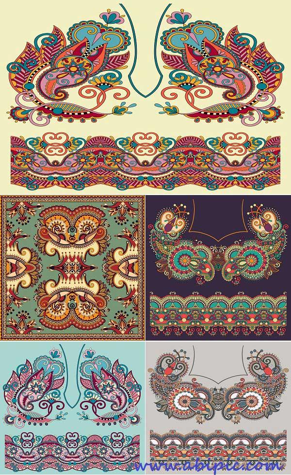 دانلود وکتور پس زمینه نقش و نگارهای سنتی Color Ethnic Style Backgrounds Vector