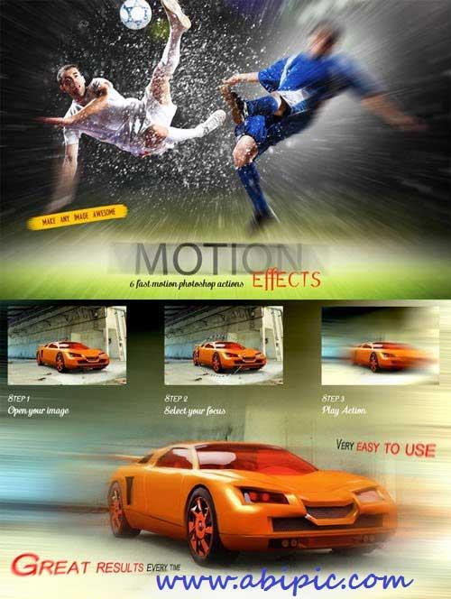 دانلود اکشن فتوشاپ ایجاد افکت موشن و حرکت سریع Fast Motion Effects Action