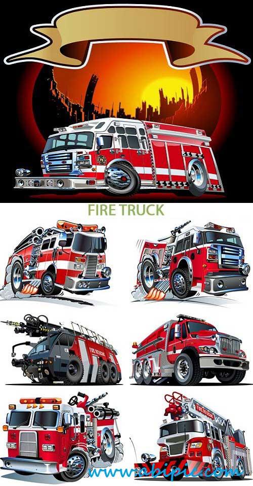 دانلود وکتور انواع مختلف ماشین های آتش نشانی Stock Vector Fire Truck