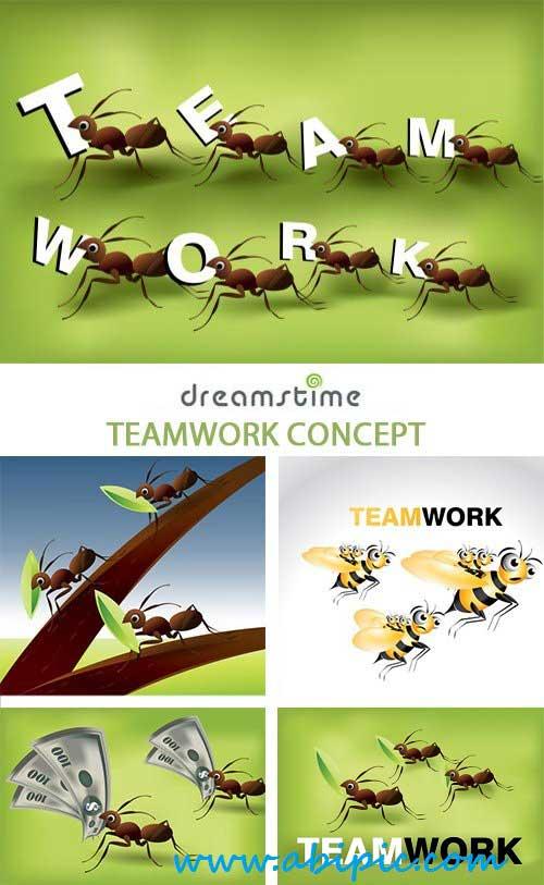 دانلود وکتور با مفهوم کار تیمی Vector Teamwork Concept