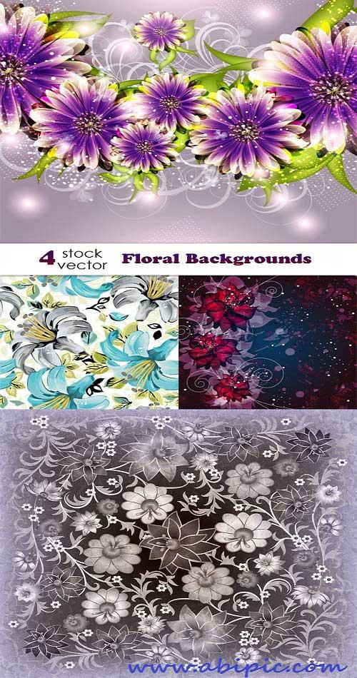 دانلود وکتور تصاویر پس زمینه گلدار سری 58 Vector Floral background