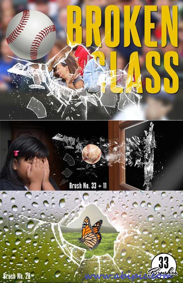 دانلود 33 براش فتوشاپ شیشه شکسته و خرد شده Broken Glass Photoshop Brush