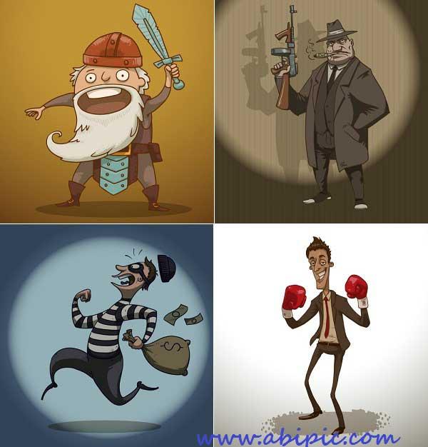 دانلود وکتور کارکتر های کمیک Comic Characters Vector