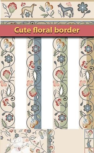 دانلود وکتور کادر و حاشیه گلدار زیبا Cute floral border