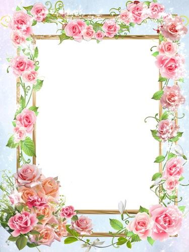 دانلود فریم و قاب عکس زیبای طراحی شده با گل صورتی Photo Frame – Pink mood