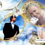 دانلود فریم و قاب عکس زیبای نامزدی و ازدواج با نام Bright point طراحی شده با گل و حلقه