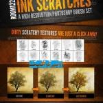 دانلود مجموعه براش قلم زنی بسیار زیبا و کم نظیر به همراه 11 براش ایجاد بافت قدیمی Ink Scratches Photoshop Brush Set
