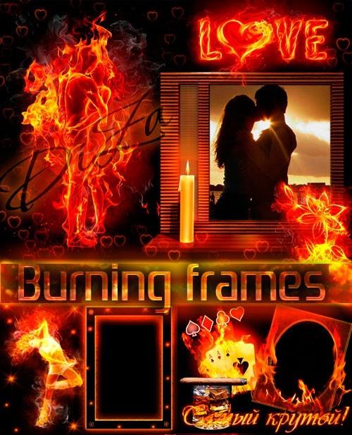 دانلود 5 فریم و قاب عکس های سوزان طراحی شده با آتش Burning frames