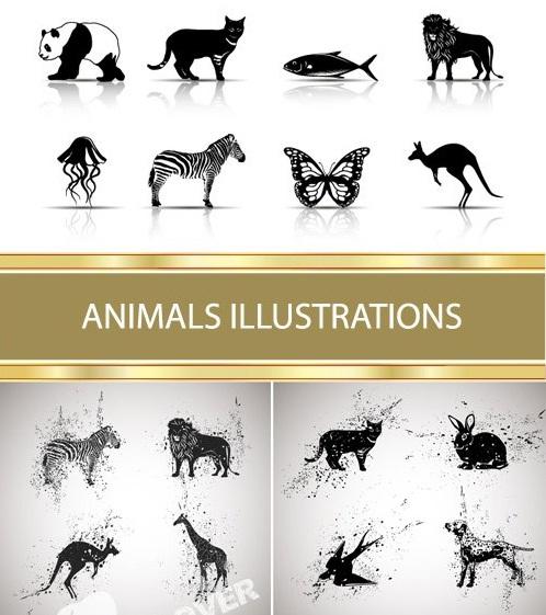 دانلود تصاویر وکتور سیاه و سفید از حیوانات برای طراحی