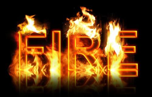 نوشته و متن های آتشین یا در حال سوختن