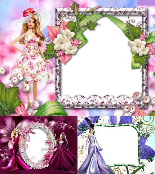 دانلود 4 قاب عکس لایه باز کودکانه Barbie Doll frames psd