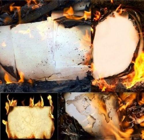 دانلود تصاویر استاک با پس زمینه کاغذ در حال سوختن Burning paper - backgrounds