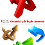 دانلود تصاویر وکتور پیکان و فلش Colorful 3D Style Arrows Vector