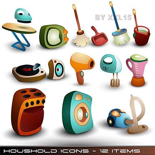 دانلود وکتور آیکون های زیبای وسایل منزل Cute household icons