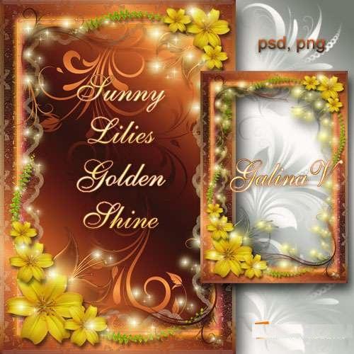دانلود فریم و قاب عکس Flower Frame - Sunny Lilies, golden shine