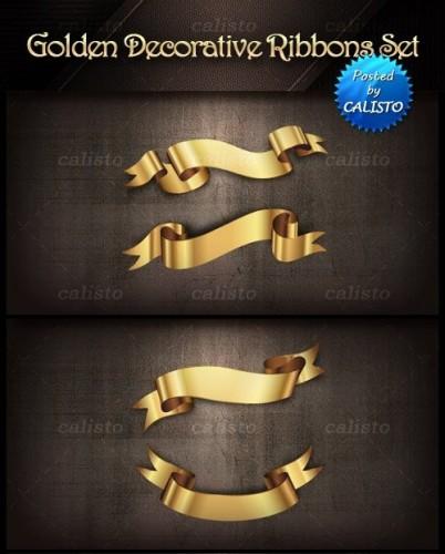 دانلود تصاویر وکتور روبان های طلایی Golden Decorative Vector Ribbons Set