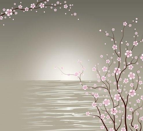 دانلود شکوفه های گیلاس ژاپنی Japanese Cherry Blossoms Vector